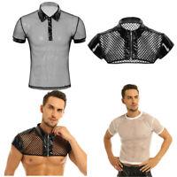 Mens Short Sleeve Fishnet T-shirt Turn-down Collar Muscle Top Shirt Club Costume