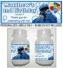 30 COOKIE MONSTER BIRTHDAY PARTY FAVORS BUBBLE LABELS