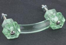 3 Coke Bottle Green Depression Era Glass Cabinet Pulls Drawer Handles Vintage