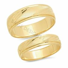 His & Hers 14K Solid Yellow Gold Mens Womens Wedding Band Engagement Ring Set