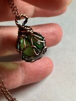 Crystal Ball , Sphere Glass Pendant  Hand Wire Wrapped In Antique Copper