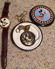 Lot Of 2-  Verichon Mickey Mouse Disney Pocket Watch In Tin & Lorus Both Working
