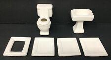 Vintage Dollhouse Miniature Bathroom White Toilet Sink Frame & Extra Tiles Lot