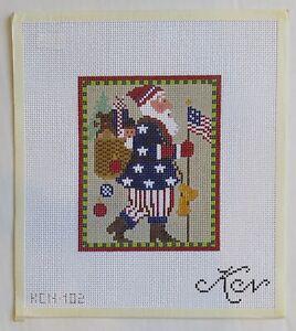 HANDPAINTED NEEDLEPOINT Patriotic Santa by Kelly Clark (31)