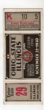 1930 Complete In Tact Football Ticket Ohio State vs. Illinois Rivalry Game