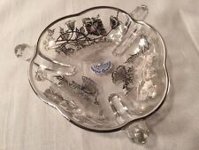 """Silver City Glass Sterling On Crystal Fine Crystalware Candy Dish 6"""" Diameter"""