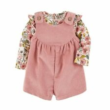 Mud Pie H0 Baby Girl Corduroy Short Overalls & Floral Top Bubble Choose Size