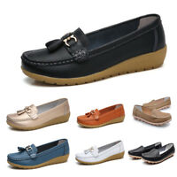 Womens Flat Comfy Tassel Loafers Moccasin Oxford Leather Lazy Peas Boat Shoes Sz