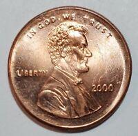 2000 - LARGE BROADSTRUCK - LINCOLN MEMORIAL CENT MAJOR MINT ERROR #10351
