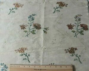 """Antique French 18thC Floral & Lace Silk Brocade Fabric Yardage c1760~38""""X19"""""""
