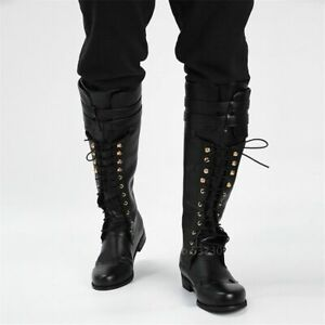New Shoes Lace Up Black Boots Knight Cosplay Retro Steampunk Renaissance Costume
