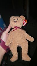 Rare Retired Ty Beanie Baby Curly The Bear With Errors AND HEART TAG FREE SHIP!