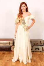 Gold sequin beaded vintage 80s bridemaid dress fancydress rara theatre