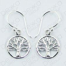 925 Sterling Silver Tree of Life Disc Celtic Wicca Hook Earrings Girls Women
