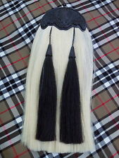 Highland Kilt Sporran Original White & Black Horse Hair Thistle Cantle Jet Black
