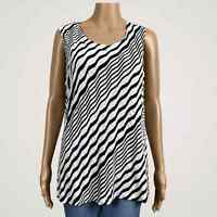 Chico's Travelers Striped Textured Knit Tank Top Shirt 2 Large 12 14 Black White