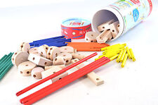 MAKIT WOODEN HUB AND SPOKE CONSTRUCTION SET 70 PIECES AGE 3 AND UP