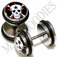 0099 Fake Cheater Faux Illusion Ear Plugs 16G Look 0G 8mm Fiery Skull Ghost