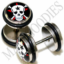 0038 Fake Cheater Faux Illusion Ear Plugs 16G Look 0G 8mm Skull & Cross Bones