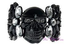 Jolly Roger Skeleton Skull Bones Glossy Black Cuff Bracelet w Swarovski Crystals