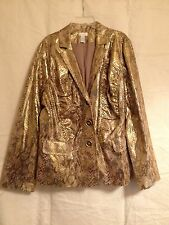 Chico's Sz 12/14 (2) Women Matallic Goldtone Animal Print Button-up Blazer!