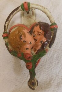 "Good Unusual Antique Cast Iron Door Knocker ""Kissing Lovers"""