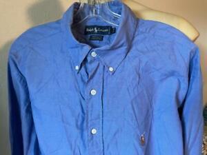 "RALPH LAUREN Yarmouth Blue Solid Long Sleeve Button Up Shirt 17 1/2 - 35"""