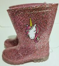 JOSMO YOUTH GIRL PINK GLITTER LIGHT UP RAIN BOOTS SIZE 9