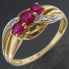 A splash of RED in a RUBY & DIAMOND 9k Solid Yellow GOLD ETERNITY RING Sz N1/2