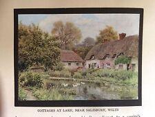 1912 Print; Cottages at Wilsford cum Lake, near Salisbury, Wiltshire