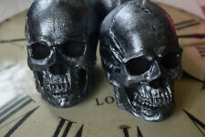 Skull candle. Large black and silver candle - 100% vegetable wax. 24 fragrances