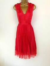 Karen Millen Red Satin Lace Skater Prom Evening Dress Wedding Races UK Size 10