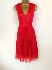 Karen Millen Red Satin Lace Skater Prom Evening Dress Wedding Races UK Size 10