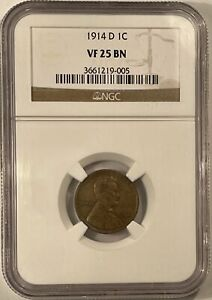 1914-D LINCOLN CENT - NGC VF-25 BN