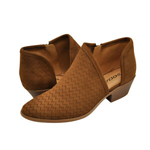 Women's Shoes Soda RISK-S Cut Out Perforated Ankle Booties CHESTNUT *New*