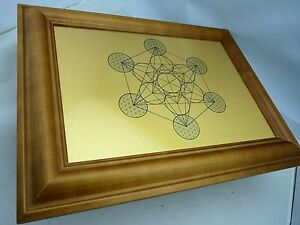 Metatron's Cube - Sacred Geometry Wall Art,  Print on Gold Brushed Metal, Framed