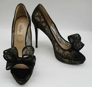 VALENTINO black lace peep-toe bow platform stiletto pumps sz 38 1/2 NWOB