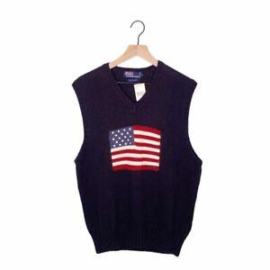 Polo Ralph Lauren Vintage 90's Flag Sweater Vest NWT SIZE LARGE