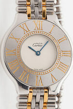 MINT $3000 Cartier Ladies 18k Gold SS MUST 21 Watch & BOX