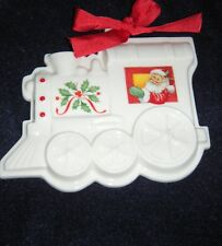 Lenox Christmas Train Cookie Shaped Mold Press Porcelain Ornament Holyday Santa
