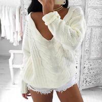 Women's Long Sleeve Knitted Sweater Jumper Knitwear Casual Cardigan Outwear Coat