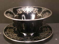 ~30's Art Deco Black Amethyst Sterling Silver Overlay Cambridge Glass Mayo Bowl~