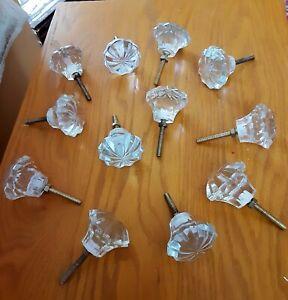 """12 Knobs, Cut Glass, Clear knob 2"""" Dia with brass screw, flower shape"""