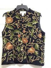 Orvis Vest Black Tan Green Burgundy Embroidered Vines Floral Cotton Rayon Medium