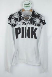 PINK VICTORIA SECRET Quarter Zip White Sweatshirt Long Sleeve Logo Jumper M