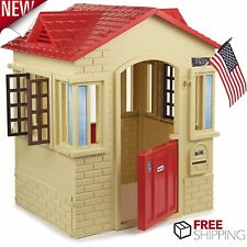 Plastic Playhouse Kids Cottage Children Indoor Outdoor Play House Toddler Tan
