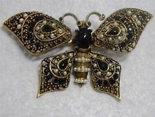 RARE~ Vintage Pauline Rader Rhinestone & Faux Pearl TREMBLER Butterfly Brooch