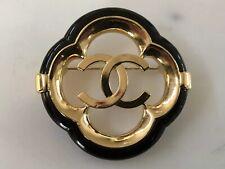CHANEL  2019 Brand New Double C Logo Gold Brooch with Dark Blue/Black Trim