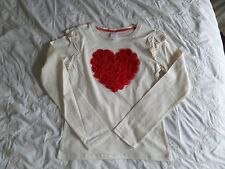 Brand New Girls Cream Cotton Red Heart Long Sleeve Top Size 11-12 Years
