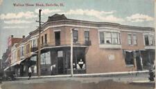 WALLACE HOUSE BLOCK Earlville, Illinois Street Scene 1910 Vintage Postcard